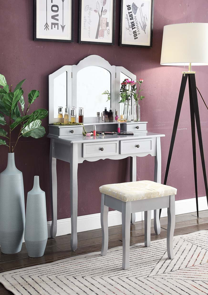 Sanlo Silver Wooden Vanity, Make Up Table and Stool Set