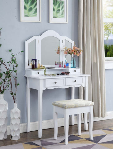 Sanlo White Wooden Vanity, Make Up Table and Stool Set