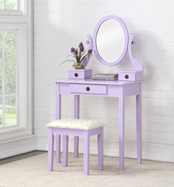 Moniya Purple Wood Makeup Vanity Table and Stool Set