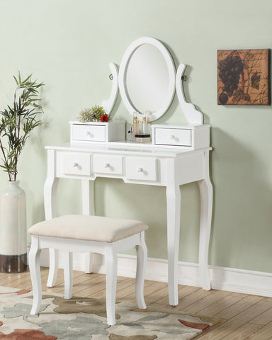 Ashley Wood Makeup Vanity Table and Stool Set  White