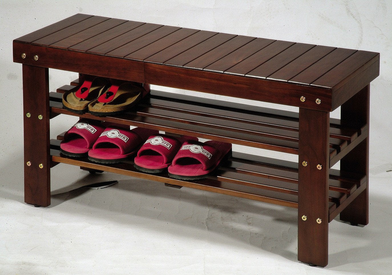 Cherry Finish Quality Solid Wood Shoe Bench With Storage