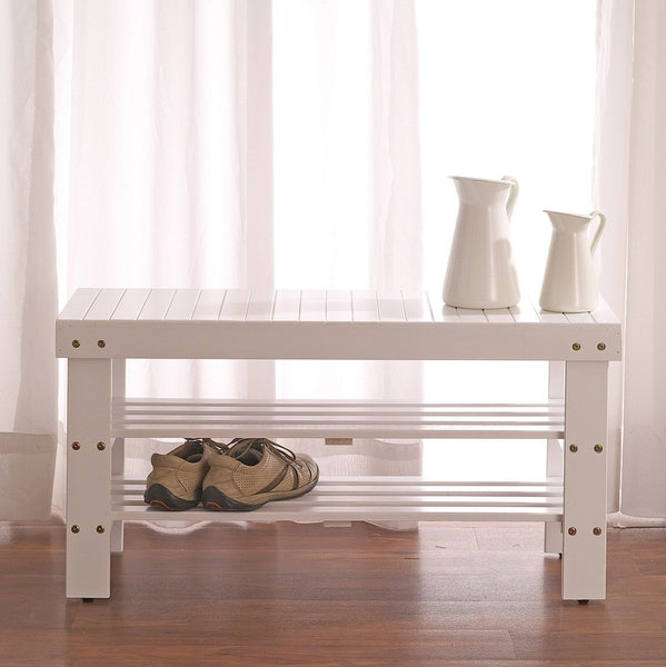 White Finish Quality Solid Wood Shoe Bench With Storage