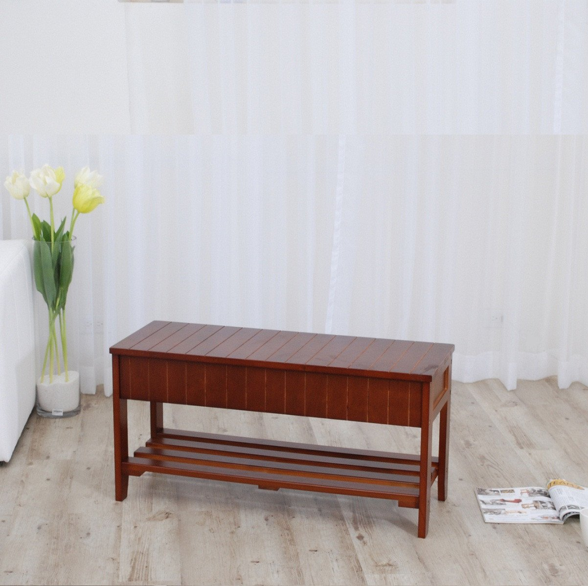 Rennes Cherry Finish Quality Solid Wood Shoe Bench With Storage
