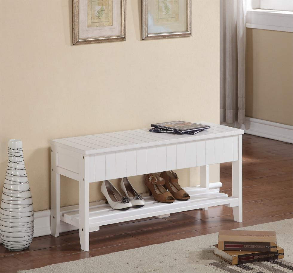 Rennes White Finish Quality Solid Wood Shoe Bench With Storage