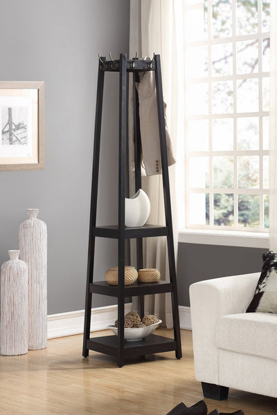 Vassen Coat Rack w/ 3-Tier Storage Shelves in Black Finish