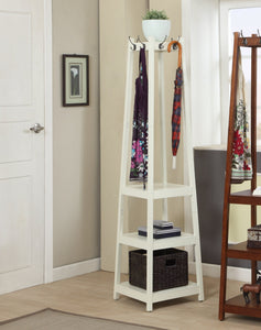 Vassen Coat Rack w/ 3-Tier Storage Shelves in White Finish