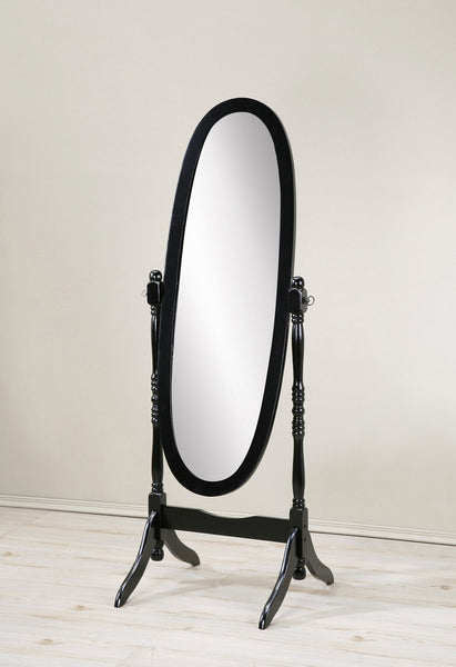 Audi Traditional Queen Anna Style Black Wood Floor Cheval Mirror