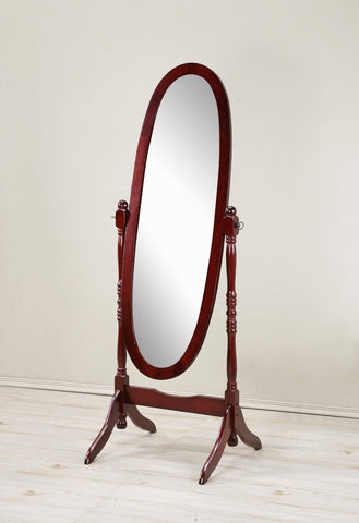 Traditional Style Wood Cheval Floor Mirror  in Cherry finish