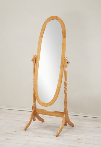 Traditional Style Wood Cheval Floor Mirror  in Oak finish