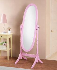Traditional Queen Anna Style Wood Floor Cheval Mirror, Pink Finish