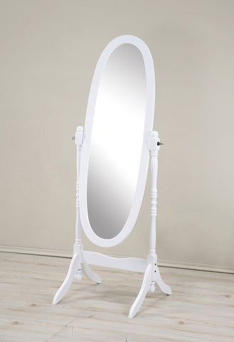 Traditional Style Wood Cheval Floor Mirror  in White finish