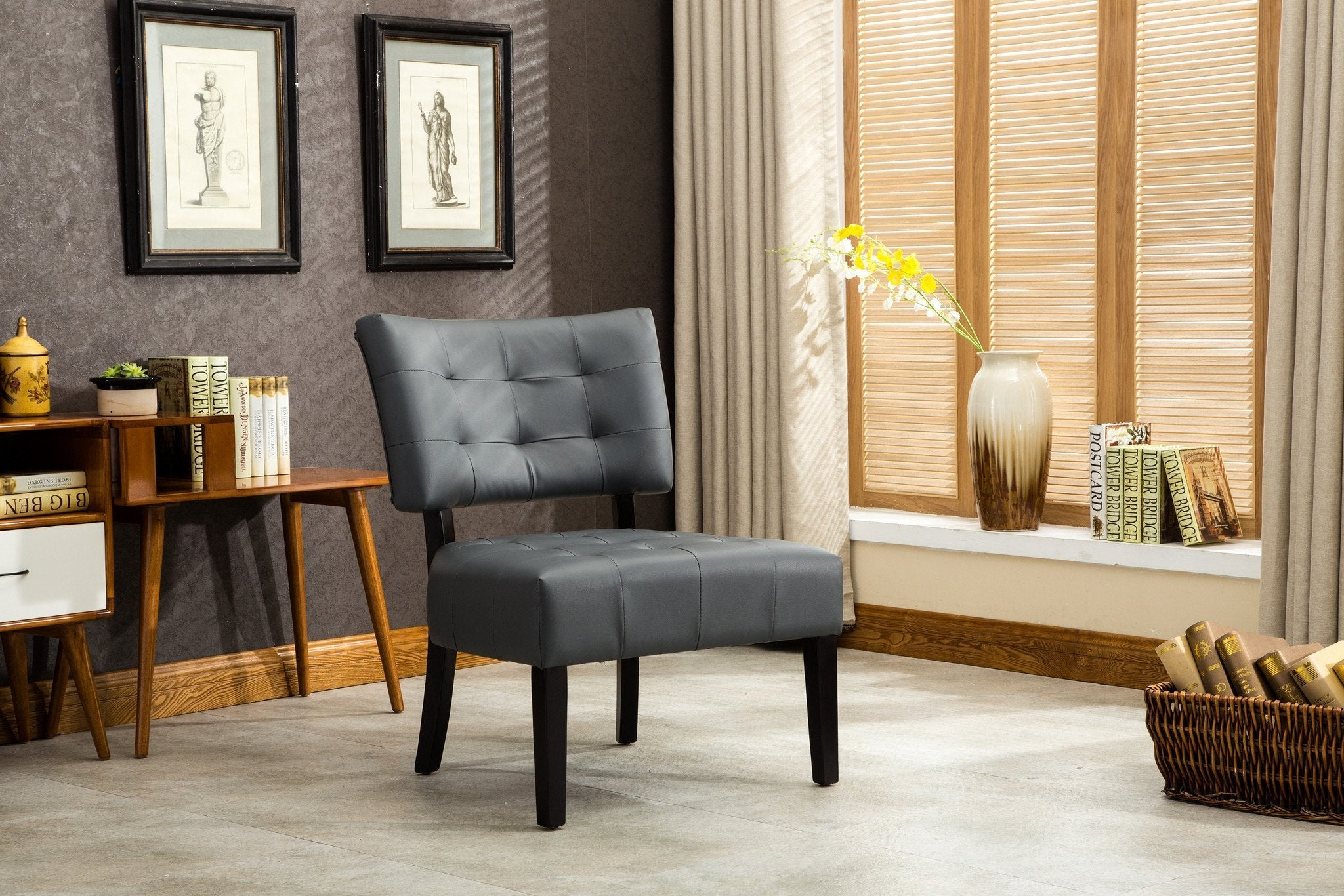 Bally Blended Grey Leather Tufted Dining Chair with Oversized Seating