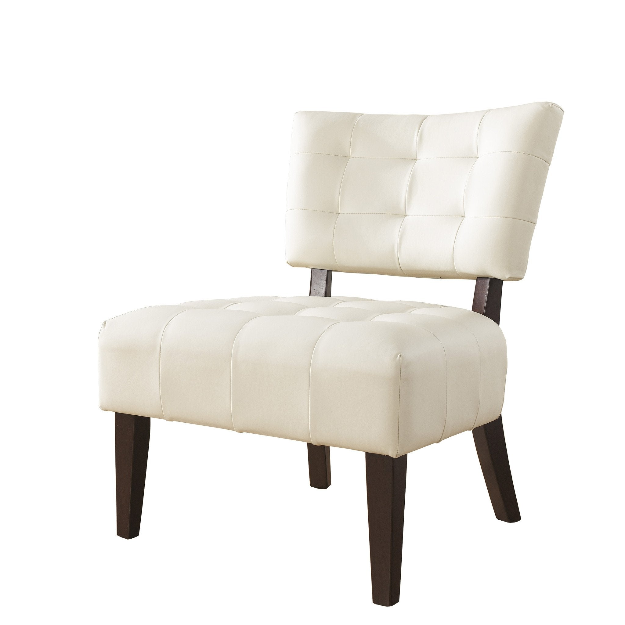 Ivory Blended Leather Tufted Back Dining Chair with Oversized Seating