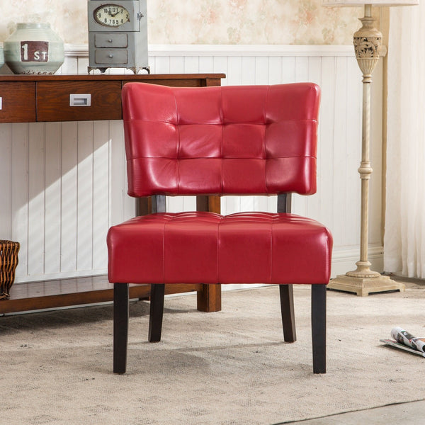 Red Blended Leather Tufted Back Dining Chair with Oversized Seating