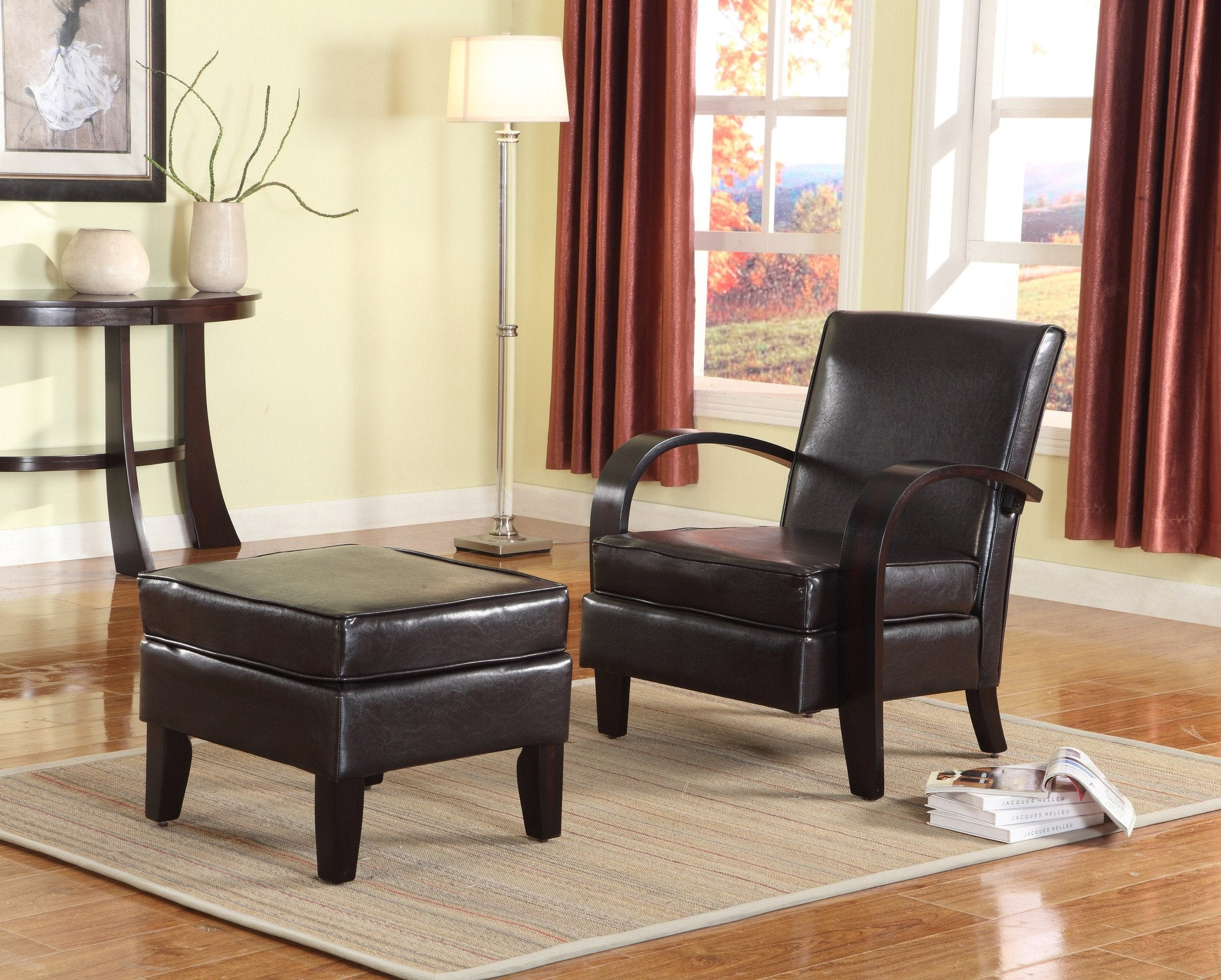 Brown Bonded Leather Arm Accent Chairs with Ottoman