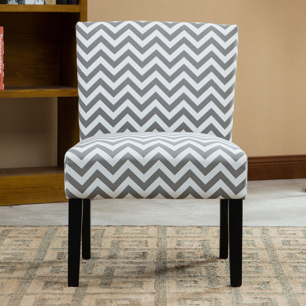 Botticelli Grey Wave Print Fabric Armless Contemporary Dining Chair
