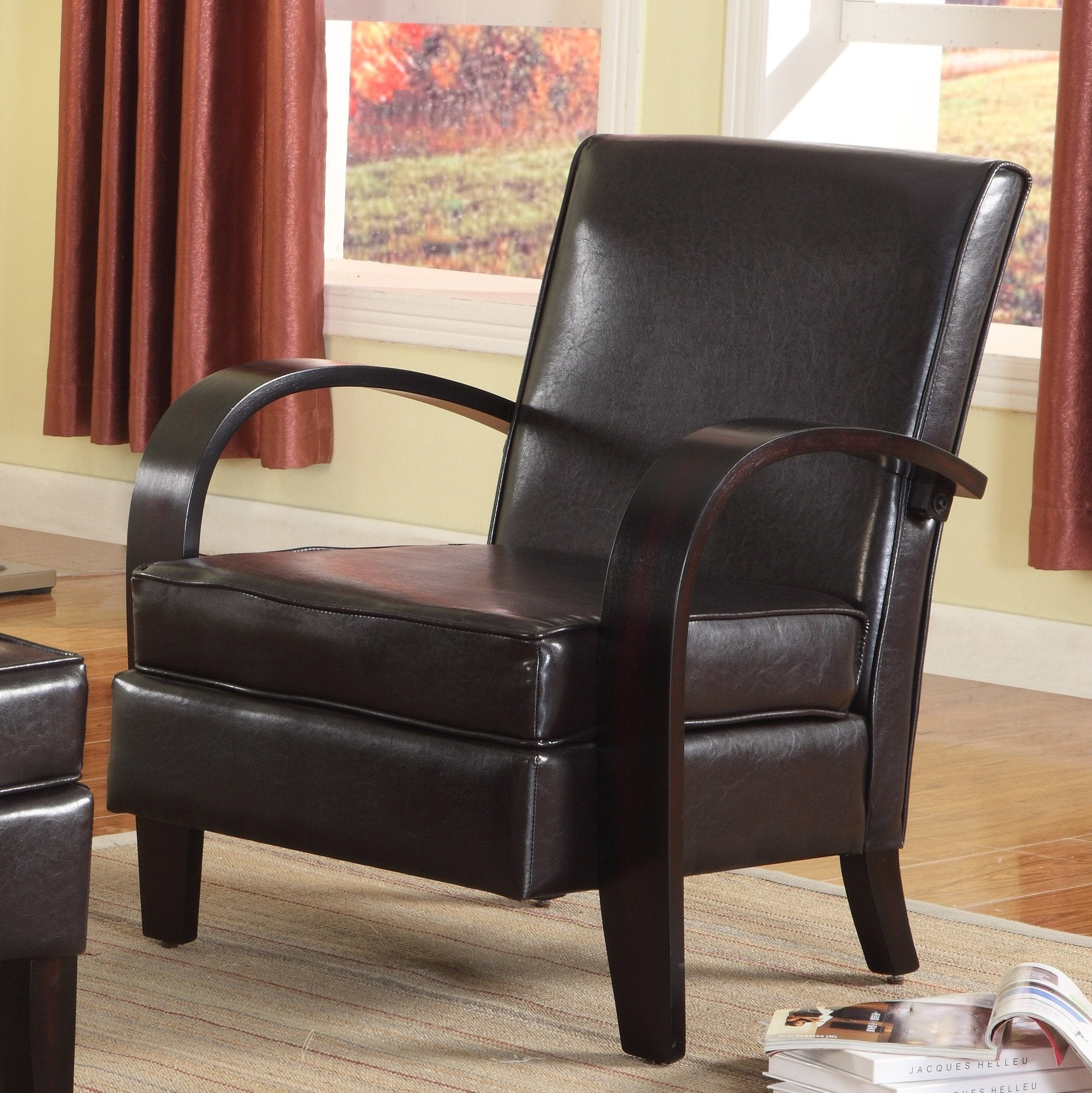 Brown Bonded Leather Accent Chair with Wood Arms