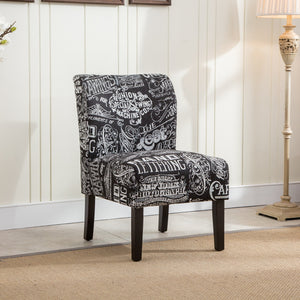 Capa Chalkboard Shadow Print Fabric Armless Contemporary Accent Chair