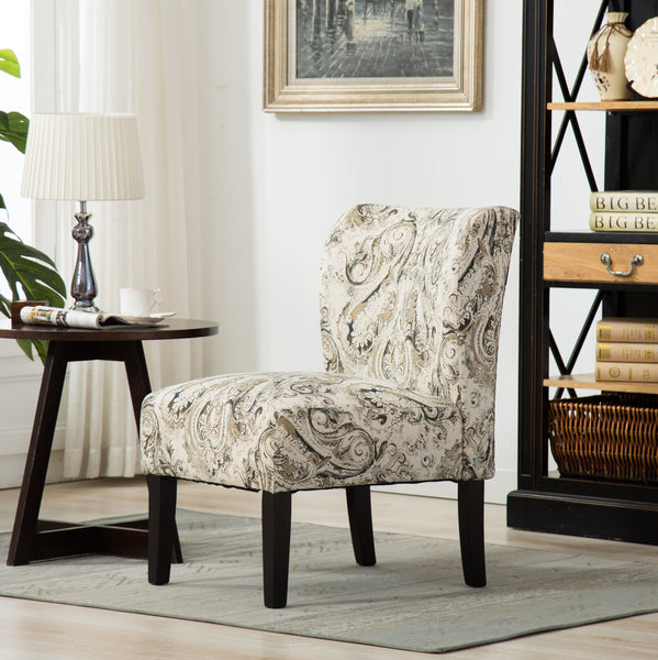 Capa Print Fabric Armless Contemporary Accent Chair, Paisley