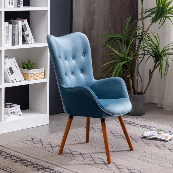 Doarnin Contemporary Silky Velvet Tufted Button Back Dining Chair, Blue
