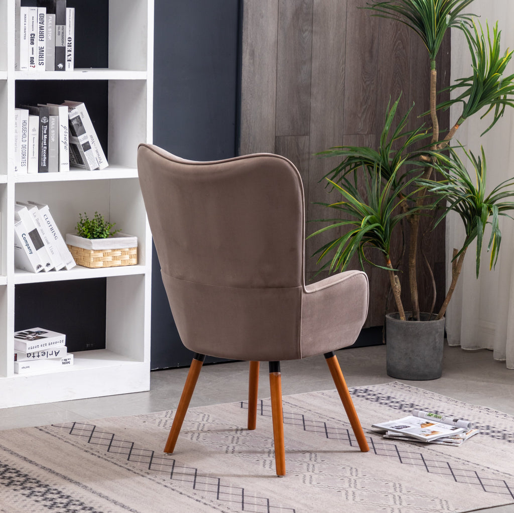 Chocolate Roundhill Furniture Doarnin Contemporary Silky Velvet Tufted Button Back Accent Chair