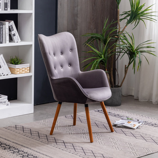 Doarnin Contemporary Silky Velvet Tufted Button Back Dining Chair, Gray