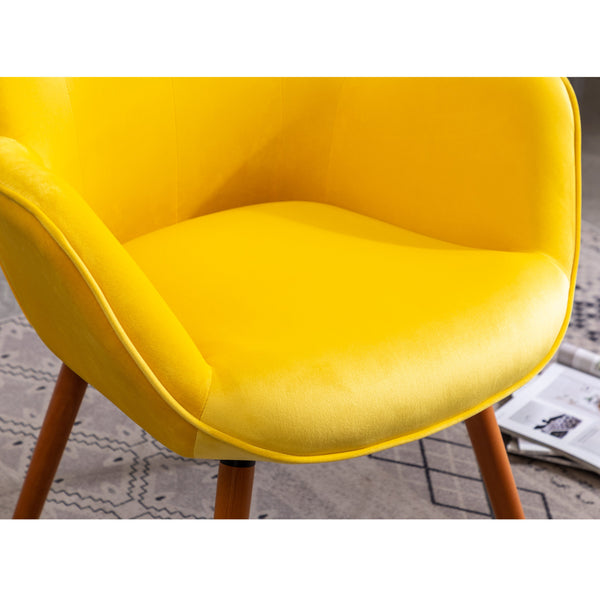Doarnin Contemporary Silky Velvet Tufted Button Back Dining Chair, Yellow
