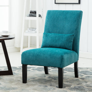 Pisano Teal Blue chenille Fabric Armless Contemporary Dining Chair with Pillow
