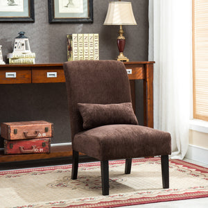 Pisano Chocolate chenille Fabric Armless Contemporary Accent Chair with Pillow