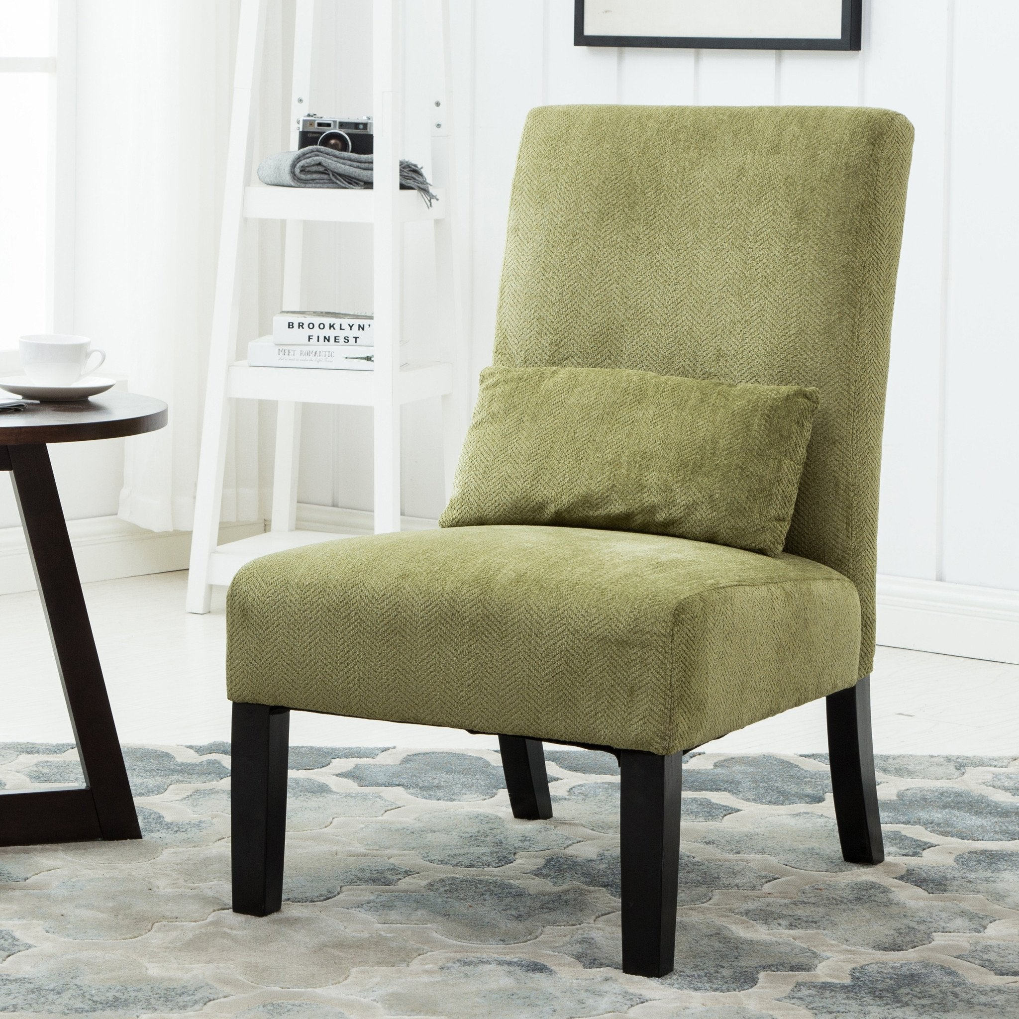 Pisano Green chenille Fabric Armless Contemporary Dining Chair with Pillow