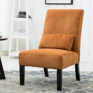 Pisano Orange chenille Fabric Armless Contemporary Dining Chair with Pillow