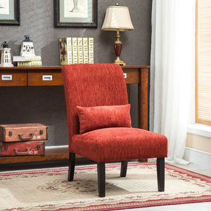 Pisano Red chenille Fabric Armless Contemporary Accent Chair with Pillow