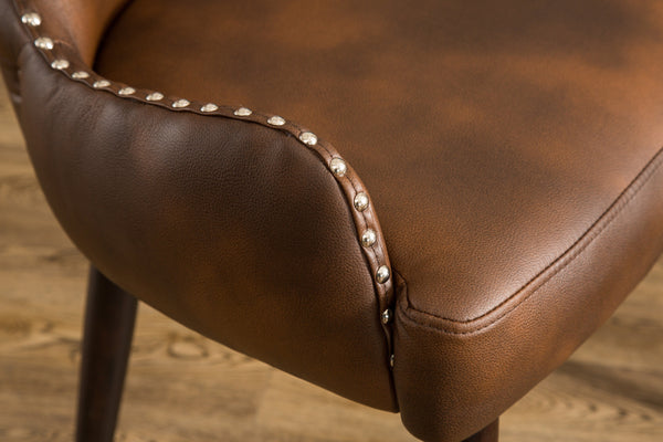 Viking Tufted Button Back barrel chair with Nailhead, Brown