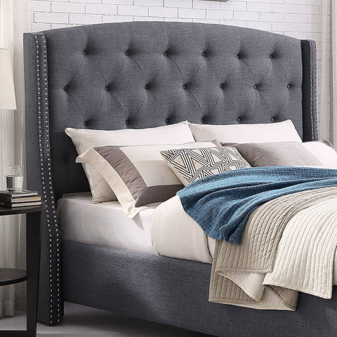 Nantarre Fabric Button Tufted Wingback Upholstered QUEEN & KING Bed with Nail Head Trim, Gray