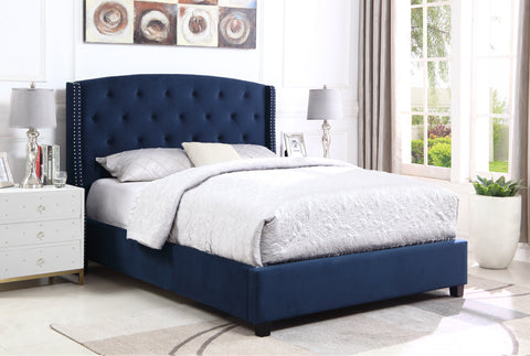 Summit Wingback Tufted Upholstered Queen Bed