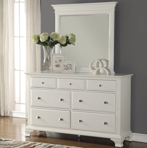 Laveno 012 White Wood 7-Drawer Dresser and Mirror