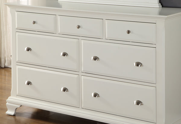 Laveno 012 White Wood 7-Drawer Dresser