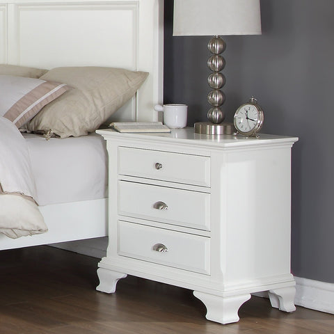 Laveno 012 White Wood 3-Drawer Night Stand