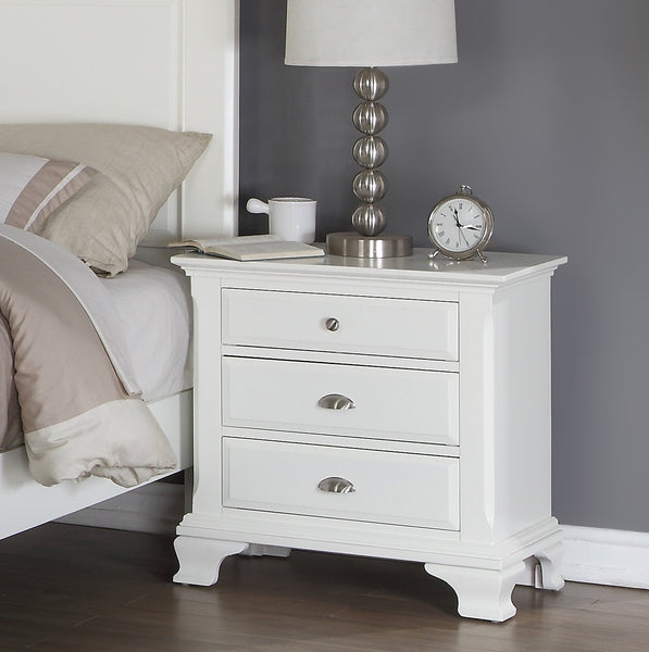 Laveno 012 White Wood Bedroom Set - QUEEN & KING Bed   Dresser   Mirror   2 Night Stands