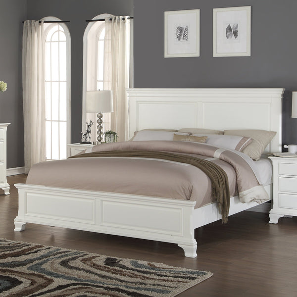 Laveno 012 White Wood Bedroom Set - QUEEN & KING Bed   Dresser   Mirror   Night Stand