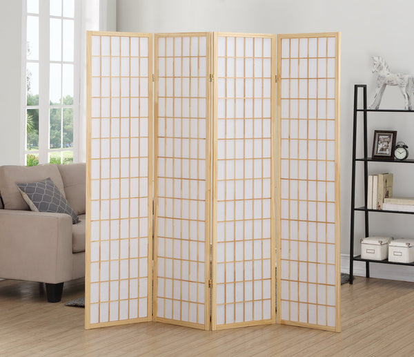 4 Panel Natural Oriental Shoji Screen / Room Divider