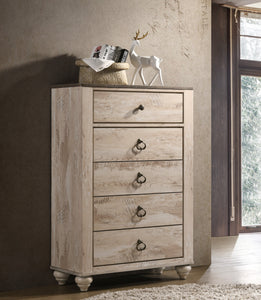 Imerland Contemporary White Wash Finish Patched Wood Top 5-drawer Chest
