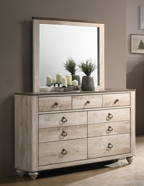 Imerland Contemporary White Wash Finish Patched Wood Top 7-drawer Dresser and Mirror