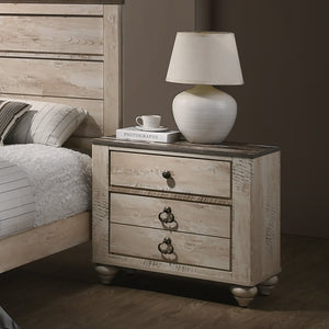 Imerland Contemporary White Wash Finish Patched Wood Top 3-drawer Nightstand