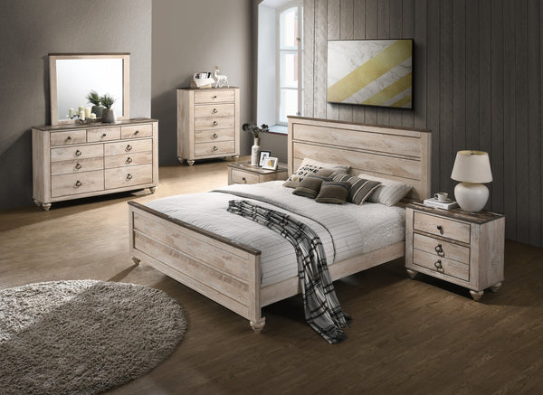 Imerland Contemporary White Wash Finish Bedroom Set, Queen Bed, Dresser, Mirror, Nightstands, Chest