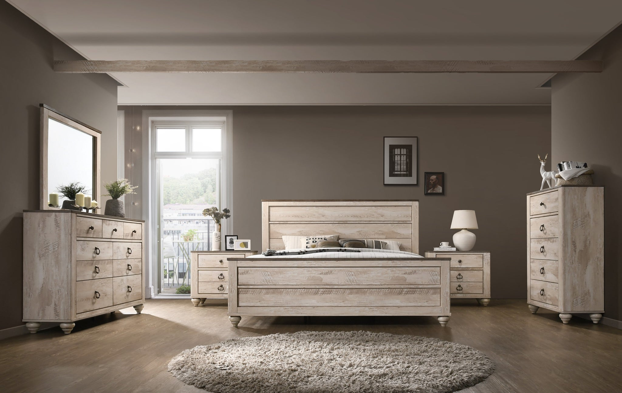 Imerland Contemporary White Wash Finish Bedroom Set, Queen & King Bed, Dresser, Mirror, Nightstands, Chest
