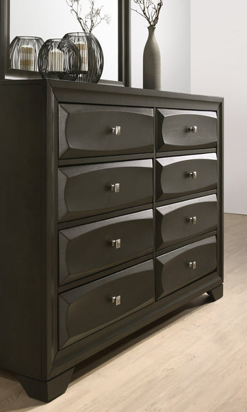 Oakland Antique Gray Finish Wood Bedroom Set with King Bed, Dresser, Mirror, Nightstands, Chest