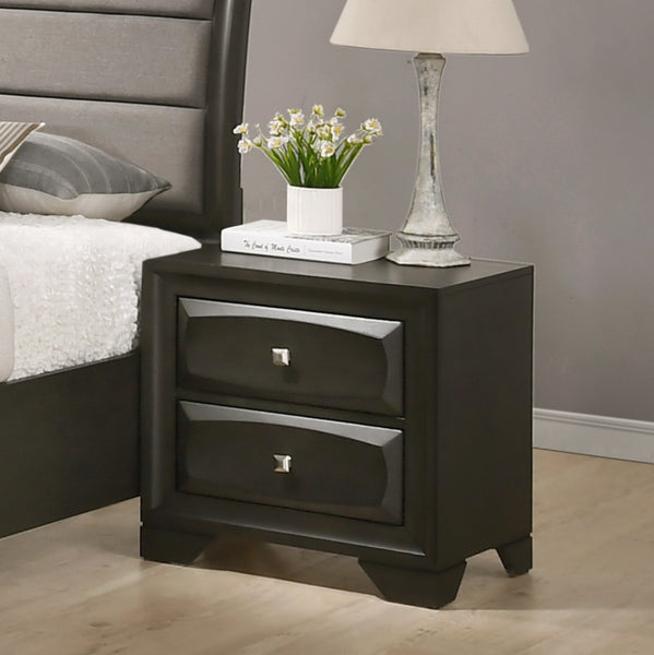 Oakland Antique Gray Finish Wood Bedroom Set with King and Queen Bed, Dresser, Mirror, Nightstands