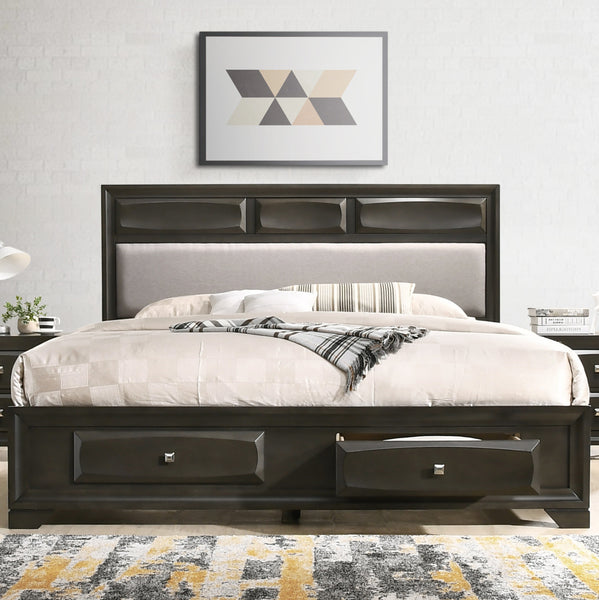 Oakland Antique Gray Finish Wood Bedroom Set with King and Queen Bed, Dresser, Mirror, Nightstand