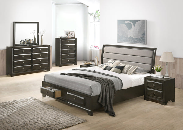 Asger Antique Gray Finish Wood Bedroom Set with Upholstered QUEEN AND KING Bed, Dresser, Mirror, Nightstands, Chest